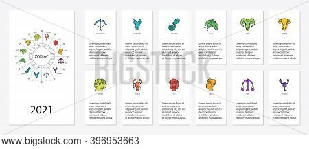 Yearly Forecast By Zodiac Constellations Template For Horoscope
