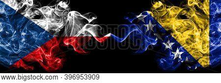 Czech Republic, Czech Vs Bosnia And Herzegovina, Bosnian, Herzegovinian Smoky Mystic Flags Placed Si