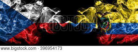 Czech Republic, Czech Vs Ecuador, Ecuadorian Smoky Mystic Flags Placed Side By Side. Thick Colored S