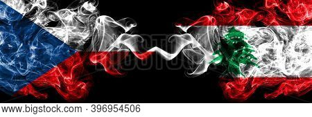 Czech Republic, Czech Vs Lebanon, Lebanese Smoky Mystic Flags Placed Side By Side. Thick Colored Sil