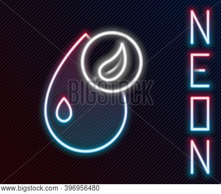 Glowing Neon Line Bio Fuel Icon Isolated On Black Background. Eco Bio. Green Environment And Recycle