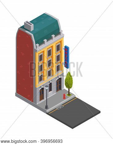 Suburban City Buildings Isometric Composition With Isolated Image Of Apartment House Exterior With S