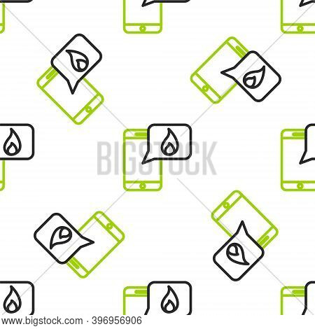 Line Mobile Phone With Emergency Call 911 Icon Isolated Seamless Pattern On White Background. Police