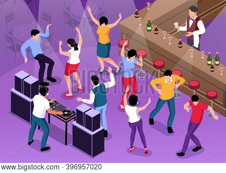 Isometric Dj Composition With View Of Bar With Counter And Dancing People With Playing Disk Jockey V