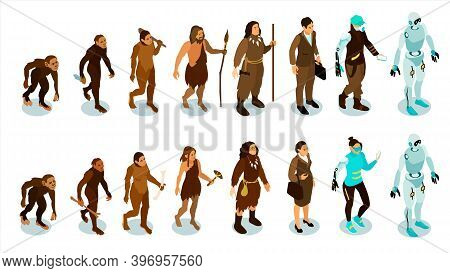 Isometric Human Evolution Set With Isolated Characters Of Ancient Men And Modern People Evolving Int