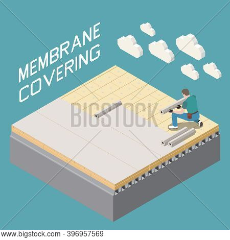 Roofer Contractor Construction Work Isometric Composition With Modern Buildings Flat Roofs Membrane