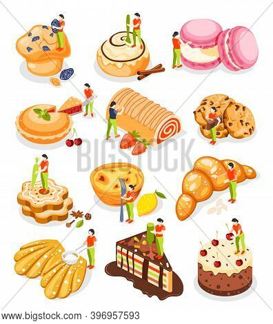 Bakery People Isometric Icon Set With Mini Baker Prepares And Decorates Pastries Vector Illustration