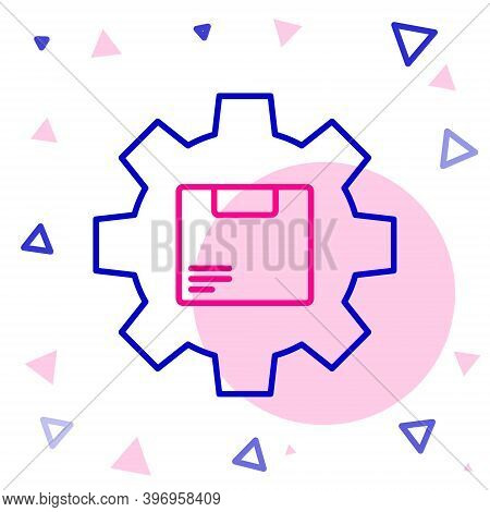 Line Gear Wheel With Package Box Icon Isolated On White Background. Box, Package, Parcel Sign. Deliv
