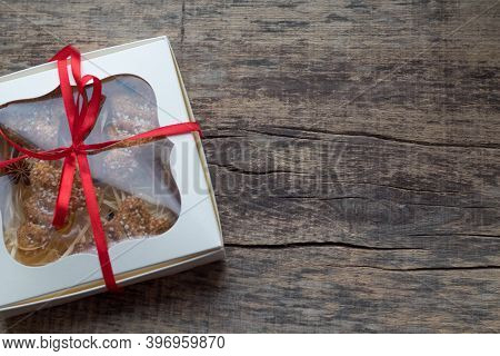 Christmas Gingerbread Cookies In A Gift Box With Red Satin Ribbon, Cinnamon, Anise, Cardamom And Clo