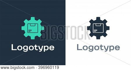 Logotype Gear Wheel With Package Box Icon Isolated On White Background. Box, Package, Parcel Sign. D