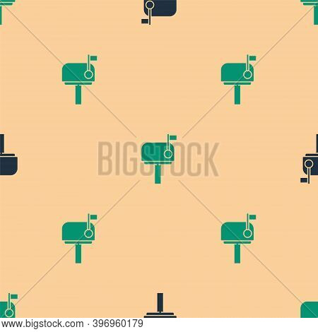 Green And Black Mail Box Icon Isolated Seamless Pattern On Beige Background. Mailbox Icon. Mail Post