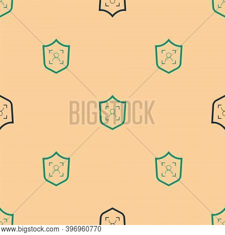 Green And Black Shield Face Recognition Icon Isolated Seamless Pattern On Beige Background. Face Ide