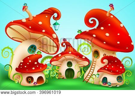 Fairy Tale Mushrooms Group With White Spots . Fairy Houses Red Amanita With Owls And Lanterns. Vecto