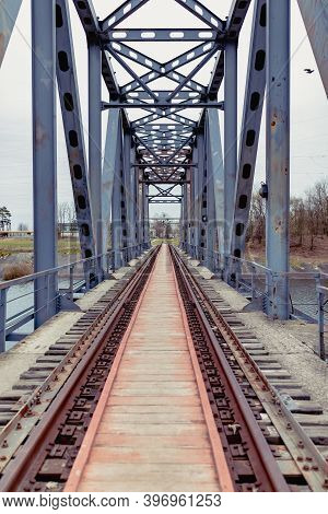 Railway Bridge Near Chernobyl Nuclear Power Plant. Kiev Region.ukraine
