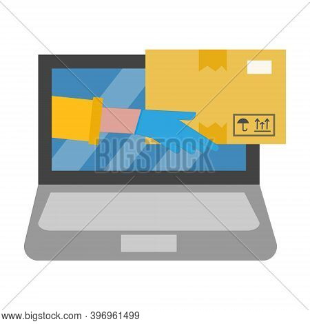 Parcel, Delivery Service, Onlaine Ordering, Shopping, Ecommerce Concept. Safe Delivery, Hands In Glo