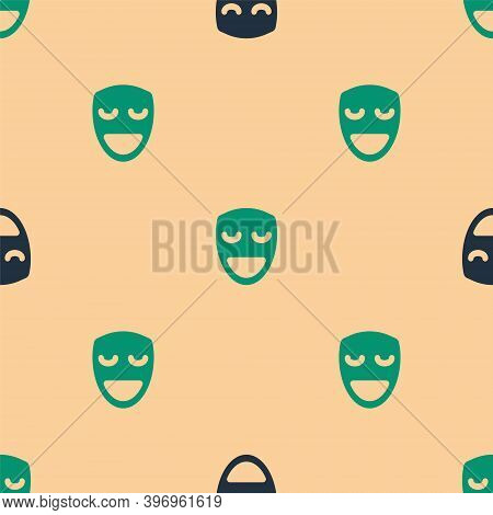 Green And Black Comedy Theatrical Mask Icon Isolated Seamless Pattern On Beige Background. Vector