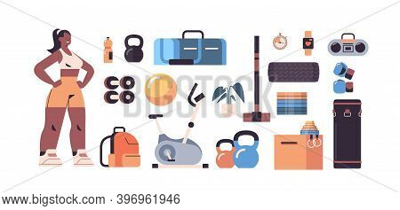 Sportswoman In Sportswear With Different Equipment Icons Set Fitness Training Healthy Lifestyle Conc