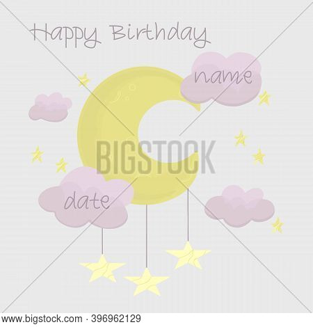Metric Illustration Of A Newborn. Childrens Poster To Record Height, Weight And Date Of Birth. Cloud