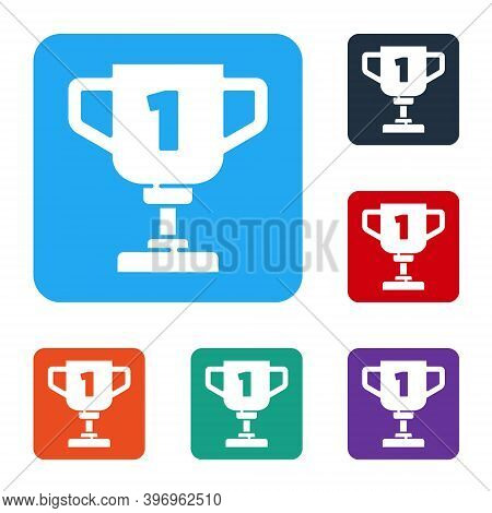 White Award Cup Icon Isolated On White Background. Winner Trophy Symbol. Championship Or Competition