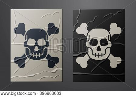 White Skull On Crossbones Icon Isolated On Crumpled Paper Background. Happy Halloween Party. Paper A