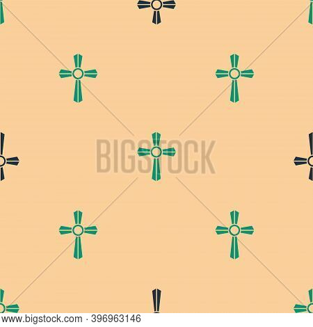 Green And Black Tombstone With Cross Icon Isolated Seamless Pattern On Beige Background. Grave Icon.