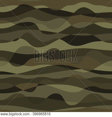 Curly Waves Tracery, Colored Curved Lines. Stylized Abstract Camouflage