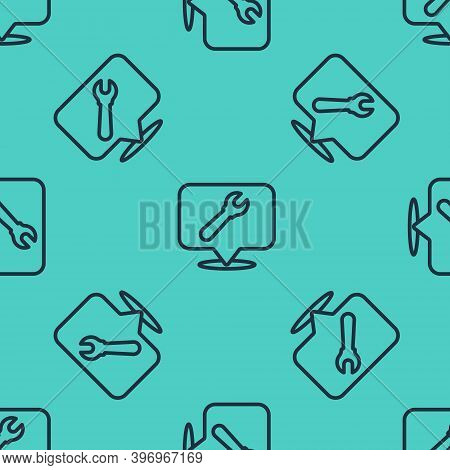 Black Line Location With Wrench Spanner Icon Isolated Seamless Pattern On Green Background. Adjustin