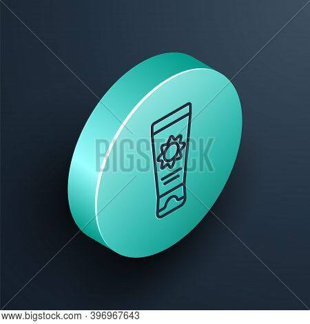 Isometric Line Sunscreen Cream In Tube Icon Isolated On Black Background. Protection For The Skin Fr