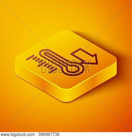 Isometric Line Meteorology Thermometer Measuring Icon Isolated On Orange Background. Thermometer Equ