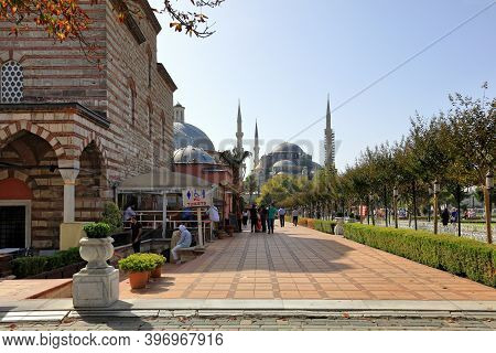 Istanbul, Turkey - October 05, 2020. Street Leading To The Sultan Ahmed Mosque Also Known As The Blu