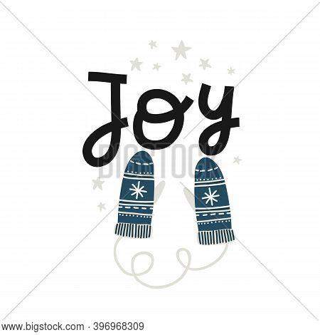 Vector Cute Blue Mittens, Congratulation Postcard, Background
