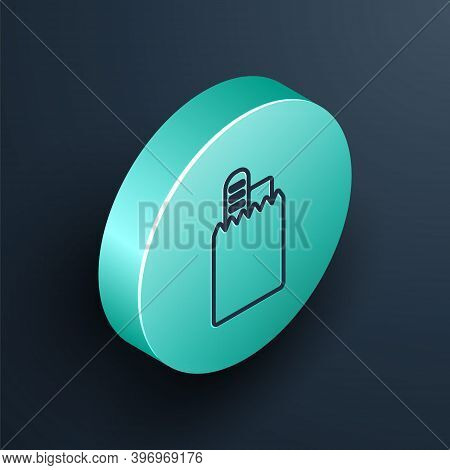 Isometric Line Online Ordering And Fast Food Delivery Icon Isolated On Black Background. Turquoise C