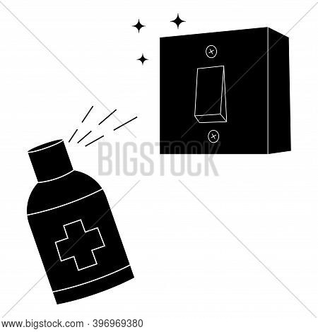 Light Switches Disinfection Black Glyph Icon. Surface Cleaning, Room Sanitation. Disinfection Of Int