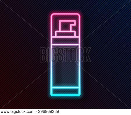 Glowing Neon Line Shaving Gel Foam Icon Isolated On Black Background. Shaving Cream. Vector
