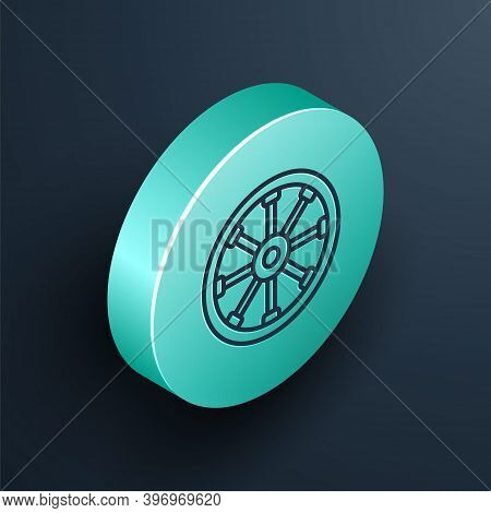 Isometric Line Old Wooden Wheel Icon Isolated On Black Background. Turquoise Circle Button. Vector