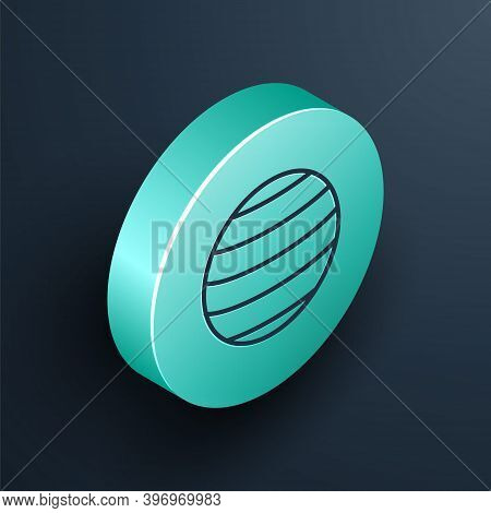 Isometric Line Planet Venus Icon Isolated On Black Background. Turquoise Circle Button. Vector