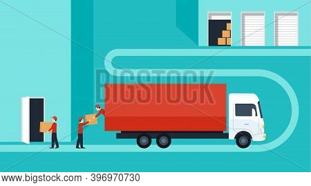 Door-to-door Delivery Service Concept - Cargo Truck Shipment With Loaders Team From Warehouse To Hom