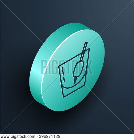 Isometric Line Cocktail Bloody Mary Icon Isolated On Black Background. Turquoise Circle Button. Vect