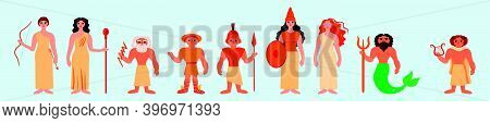 Set Of Greek Gods Cartoon Icon Design Template With Various Models. Modern Vector Illustration Isola