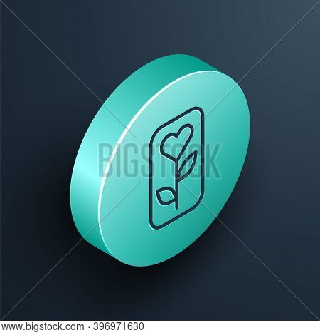 Isometric Line Flower Rose Icon Isolated On Black Background. Turquoise Circle Button. Vector