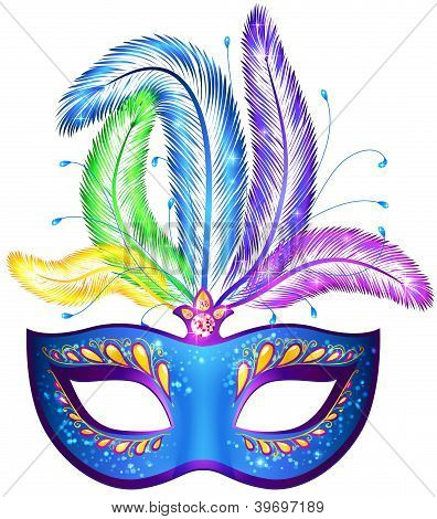 Vector venitian carnival mask with feathers