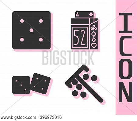 Set Stick For Chips, Game Dice, Game Dice And Deck Of Playing Cards Icon. Vector
