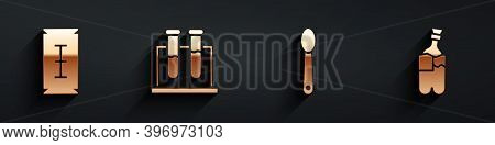 Set Blade Razor, Test Tube And Flask, Heroin In A Spoon And Bong For Smoking Marijuana Icon With Lon