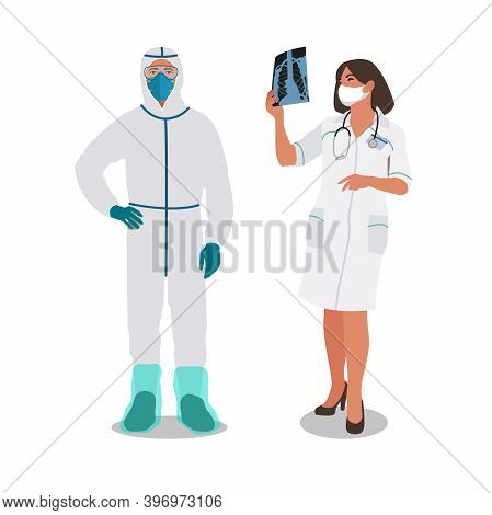 Clip Art Of Male Doctor Dressed In White Protective Costume With Mask And Eyewear And Female Nurse I