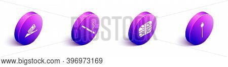 Set Isometric Cocaine And Credit Card, Cigarette, Package With Cocaine And Opium Poppy Icon. Vector