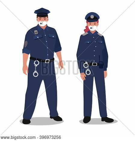 Clip Art Of Male And Female Police Persons Weared With Masks And Dressed In Uniform Isolated On Whit