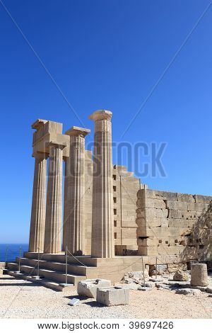 Pillars Of Doric Temple Of Athena Lindia