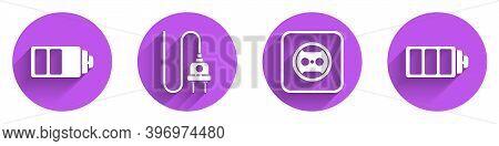 Set Battery Charge Level Indicator, Electric Plug, Electrical Outlet And Battery Charge Level Indica