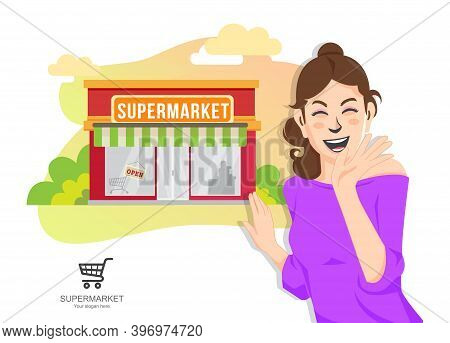 Sale, Consumerism And People Concept, Shopping With Supermarket Groceries Design