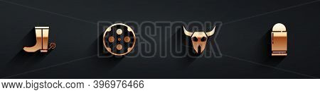 Set Cowboy Boot, Revolver Cylinder, Buffalo Skull And Bullet Icon With Long Shadow. Vector